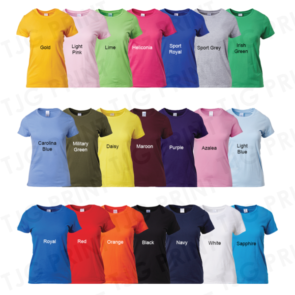 Ladies Gildan Premium Cotton T-Shirt Colour Catalogue