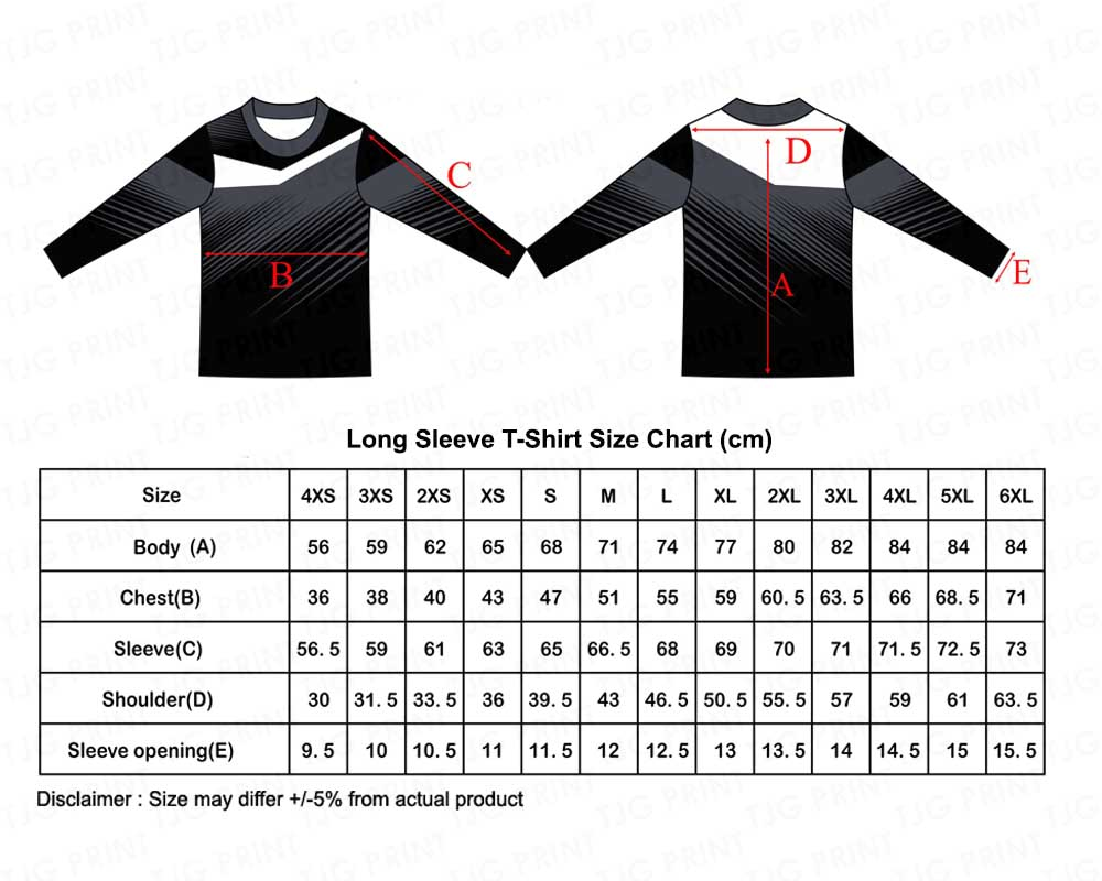 Long Sleeve Size Chart for sublimation jersey