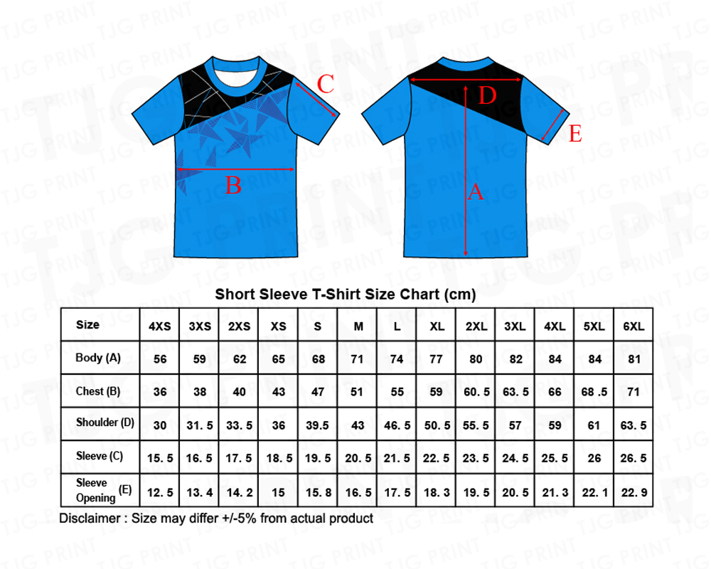 Short Sleeve Size Chart for sublimation jersey