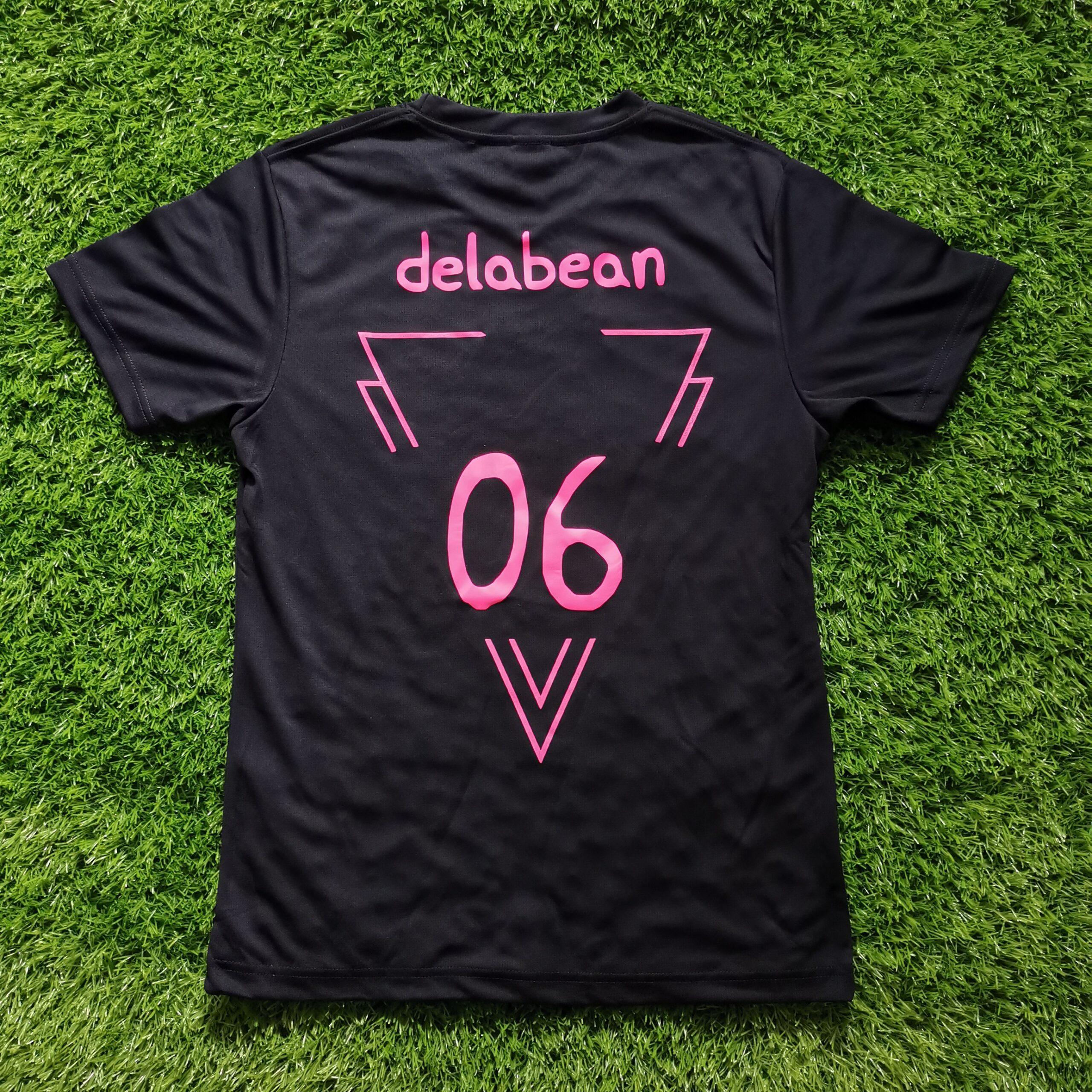 Neon Pink Silkscreen Printing on Black T-Shirt