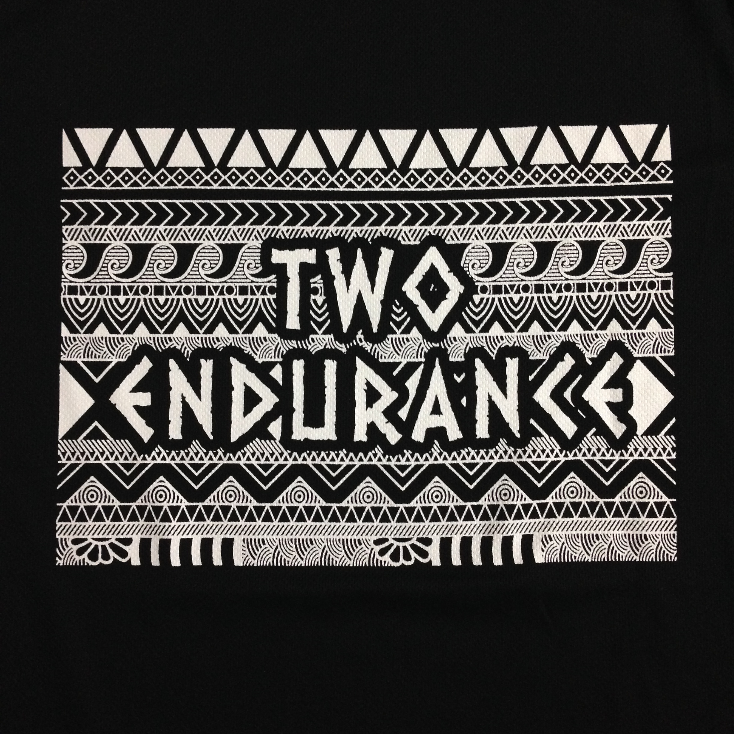 Detailed and complex design done in white silkscreen printing
